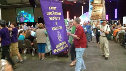 The Rohans take part in the opening ceremony banner parade at the Association's General Assembly in Louisville.